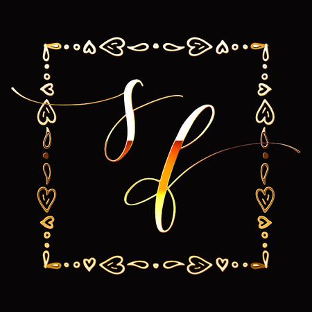Floral Frame or Monogram Hand Drawn Element. Doodle Branches Border Illustration for Wedding Invitations, Greeting Card or Restaurant Menu. Hipster Hand Made Logo Design Template. Banque d'images - 124893326