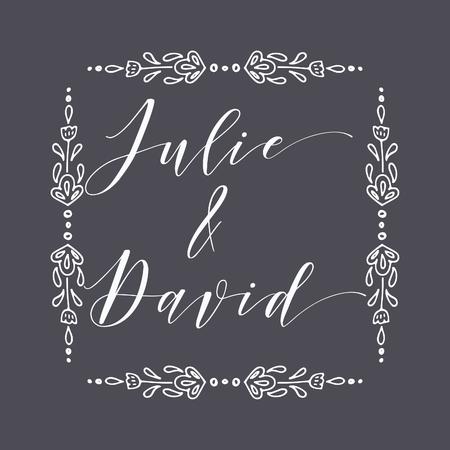 Floral Frame or Monogram Hand Drawn Element. Doodle Branches Border Illustration for Wedding Invitations, Greeting Card or Restaurant Menu. Hipster Hand Made Logo Design Template. Banque d'images - 124893332