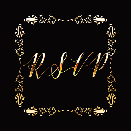 Floral Frame or Monogram Hand Drawn Element. Doodle Branches Border Illustration for Wedding Invitations, Greeting Card or Restaurant Menu. Hipster Hand Made Logo Design Template. Banque d'images - 124893357