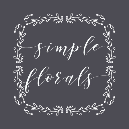 Floral Frame or Monogram Hand Drawn Element. Doodle Branches Border Illustration for Wedding Invitations, Greeting Card or Restaurant Menu. Hipster Hand Made Logo Design Template. Banque d'images - 124893358