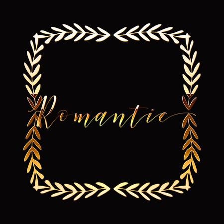 Floral Frame or Monogram Hand Drawn Element. Doodle Branches Border Illustration for Wedding Invitations, Greeting Card or Restaurant Menu. Hipster Hand Made Logo Design Template. Banque d'images - 124893360