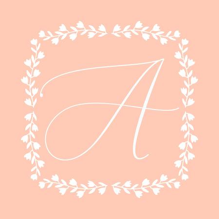 Floral Frame or Monogram Hand Drawn Element. Doodle Branches Border Illustration for Wedding Invitations, Greeting Card or Restaurant Menu. Hipster Hand Made Logo Design Template. Banque d'images - 124893361