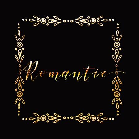 Floral Frame or Monogram Hand Drawn Element. Doodle Branches Border Illustration for Wedding Invitations, Greeting Card or Restaurant Menu. Hipster Hand Made Logo Design Template. Banque d'images - 124893366