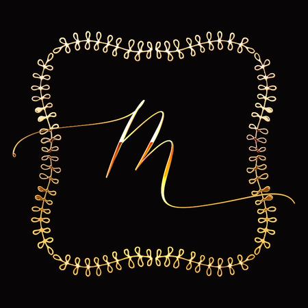 Floral Frame or Monogram Hand Drawn Element. Doodle Branches Border Illustration for Wedding Invitations, Greeting Card or Restaurant Menu. Hipster Hand Made Logo Design Template. Banque d'images - 124893369