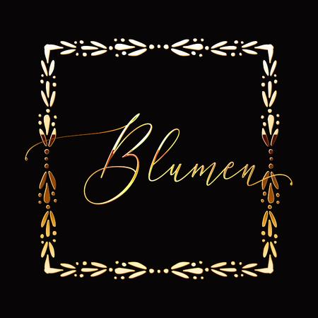Floral Frame or Monogram Hand Drawn Element. Doodle Branches Border Illustration for Wedding Invitations, Greeting Card or Restaurant Menu. Hipster Hand Made Logo Design Template. Banque d'images - 124893370