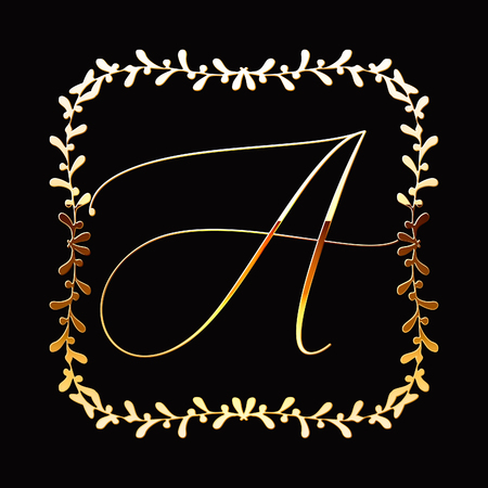Floral Frame or Monogram Hand Drawn Element. Doodle Branches Border Illustration for Wedding Invitations, Greeting Card or Restaurant Menu. Hipster Hand Made Logo Design Template. Banque d'images - 124893400