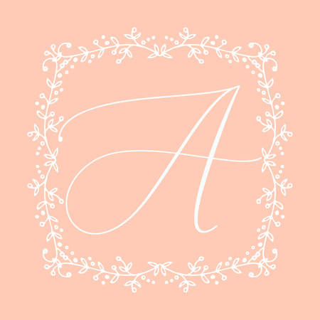 Floral Frame or Monogram Hand Drawn Element. Doodle Branches Border Illustration for Wedding Invitations, Greeting Card or Restaurant Menu. Hipster Hand Made Logo Design Template. Banque d'images - 124893398