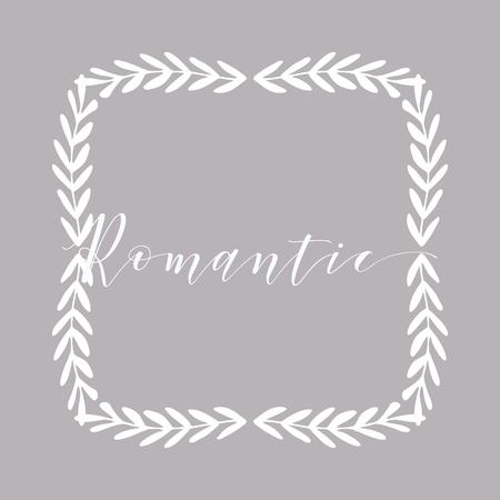 Floral Frame or Monogram Hand Drawn Element. Doodle Branches Border Illustration for Wedding Invitations, Greeting Card or Restaurant Menu. Hipster Hand Made Logo Design Template. Banque d'images - 124893399