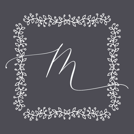 Floral Frame or Monogram Hand Drawn Element. Doodle Branches Border Illustration for Wedding Invitations, Greeting Card or Restaurant Menu. Hipster Hand Made Logo Design Template. Banque d'images - 124893401