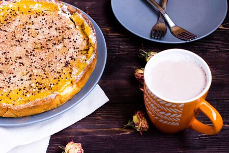 Pumpkin Pie Traditional Thanksgiving Tasty Tart. Autumnal Food Background with Hand Made Baked Cake Stock Photo