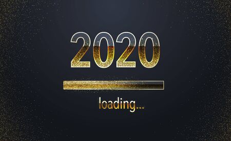 2020 loading background New year concept. Holiday web banner with glittering golden design. Greeting Card Template. Illustration