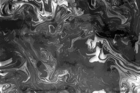 Tinte Marmor Schwarz-Weiß-Grunge-Vektor-Textur. Flüssige abstrakte Oberfläche für Mockup-Design und Hintergrund. Künstlerische Ebru-Malerei.