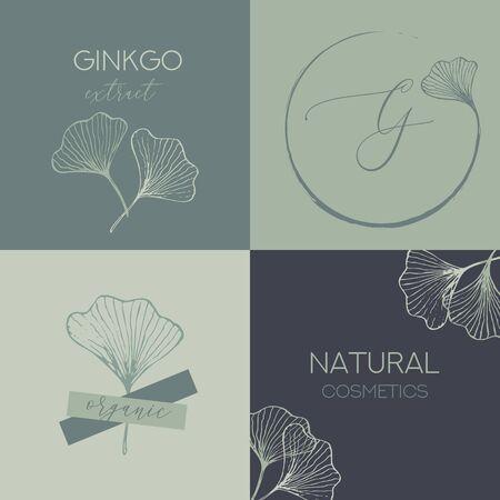 Organic Natural Zero Waste Ginkgo Biloba Leaf Cosmetic Package Design Template. Minimal Plant Greenery Label or Sticker Design. Vector Illustration