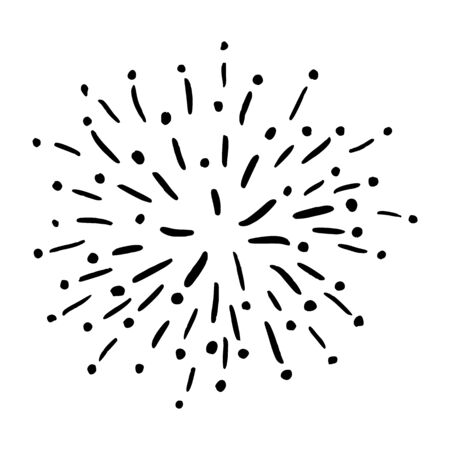 Vector Doodle Sun rays or Starbursts. Hand Drawn Circle Design Black and White Elements.