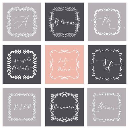 Floral Frame or Monogram Hand Drawn Element. Doodle Branches Border Illustration for Wedding Invitations, Greeting Card or Restaurant Menu. Hipster Hand Made Design Template.