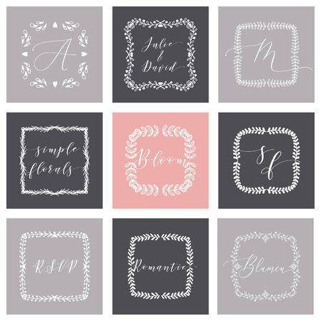 Floral Frame or Monogram Hand Drawn Element. Doodle Branches Border Illustration for Wedding Invitations, Greeting Card or Restaurant Menu. Hipster Hand Made Design Template. Ilustración de vector
