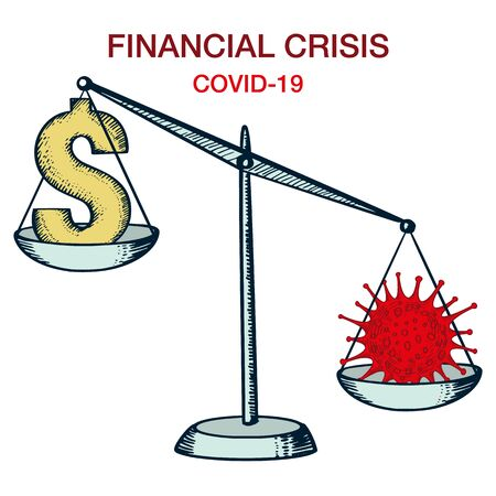 World Financial Economic Crisis Concept. Scales with Coronavirus Bacteria and Currency. Covid-19 nCov Outbreak Economics. Illustration