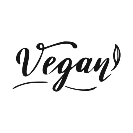 Vegan Lettering. Healthy food hand drawn icon.