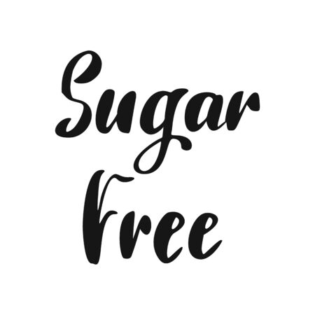 Sugar Free Lettering. Vegan Healthy Food Icon. Eco hand drawn lettering.