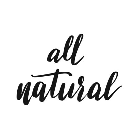 Natural Lettering. Vegan Healthy Food Icon. Eco hand drawn lettering. Illustration