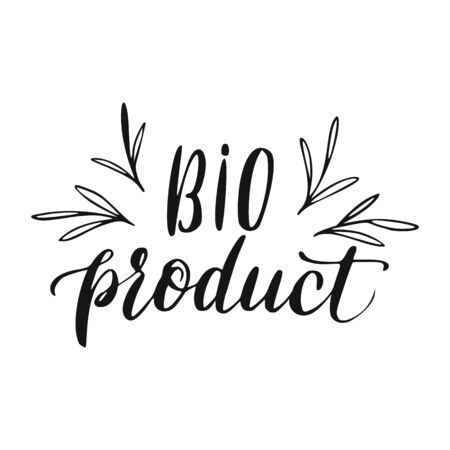 Bio Product Lettering. Eco Food Hand Drawn Sign.