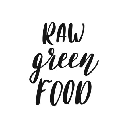 Raw Food Lettering. Healthy Food Sign. Illustration