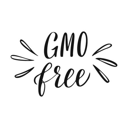 Gmo Free Lettering. Healthy food hand drawn sign. Illustration