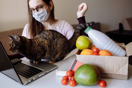 In the foreground is box of ordered food. The box contains vegetables, milk, fruit. In background: the Girl is eating a meal on the house from the store. The cat checks for cat food in the food order.