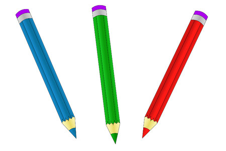 Three colored crayons - red, blue, green