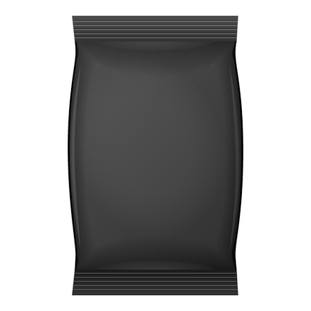 coffee bag: Black Blank Foil Food Snack Sachet Bag Packaging For Coffee, Salt, Sugar, Pepper, Spices, Sachet, Sweets, Chips, Cookies Or Candy. Plastic Pack Template Ready For Your Design. Vector EPS10