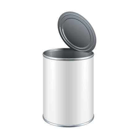 Opened White Blank Tincan Metal Tin Can, Canned Food. Ready For Your Design. Product Packing Vector EPS10