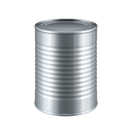 food packaging: Tincan Ribbed Metal Tin Can, Canned Food. Ready For Your Design. Product Packing Vector EPS10