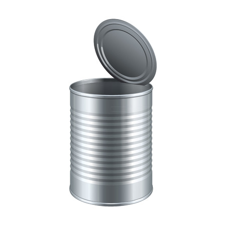 Opened Tincan Ribbed Metal Tin Can, Canned Food. Ready For Your Design. Product Packing Vector EPS10 Çizim