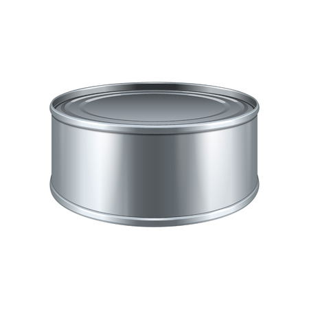canned meat: Short Tincan Metal Tin Can, Canned Food. Ready For Your Design. Product Packing Vector EPS10 Illustration