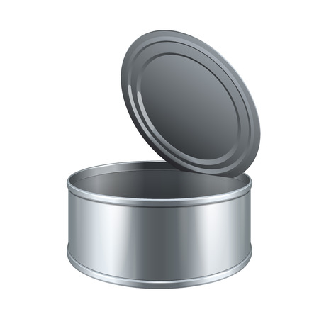 tin: Opened Short Tincan Metal Tin Can, Canned Food. Ready For Your Design. Product Packing Vector EPS10 Illustration
