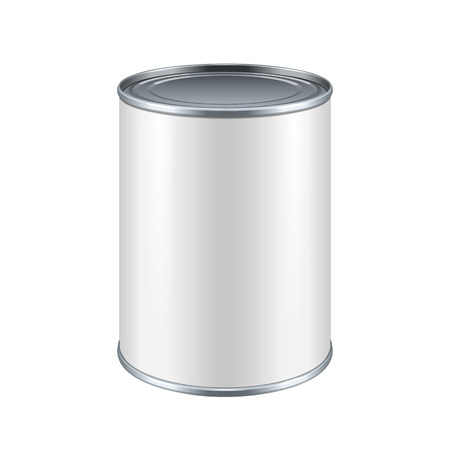 White Blank Tincan Metal Tin Can, Canned Food. Ready For Your Design. Product Packing Vector EPS10