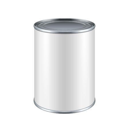 Blanc Blank Tincan Métal Tin Can, aliments en conserve. Prêt pour votre conception. Emballage de produit Vector EPS10