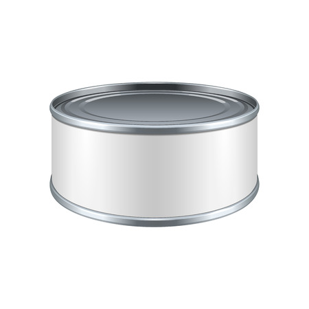 tincan: Short Metal Tin Can, Canned Food With White Label. Ready For Your Design. Product Packing Vector EPS10