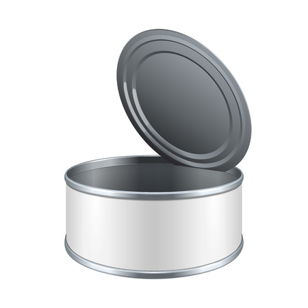 tincan: Opened Short Metal Tin Can, Canned Food With White Label. Ready For Your Design. Product Packing Vector EPS10