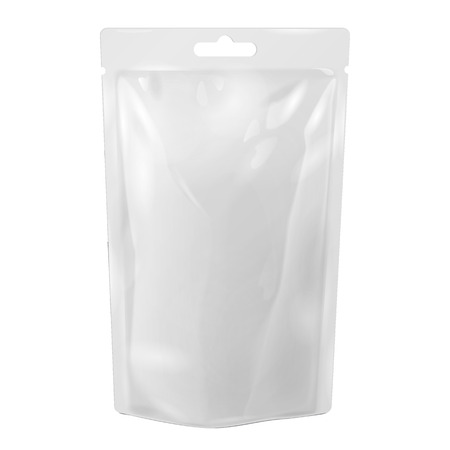 White Blank Foil Food Or Drink Bag Packaging With Hang Slot Blister. Vectores