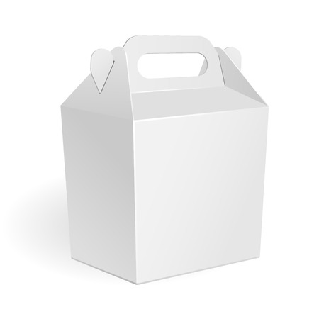 White Big Cardboard Fast Food Box