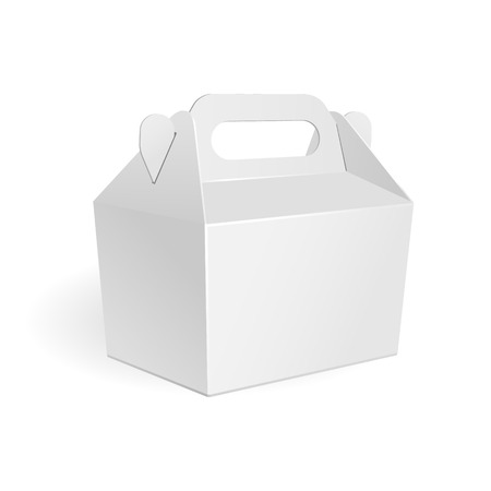 White Cardboard Fast Food Box, Packaging For Lunch Chinese Food On White Background Isolated Vettoriali