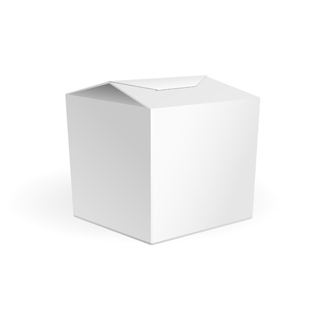 White Cardboard Fast Food Or Candies Box, Packaging For Lunch Chinese Food On White Background Isolated