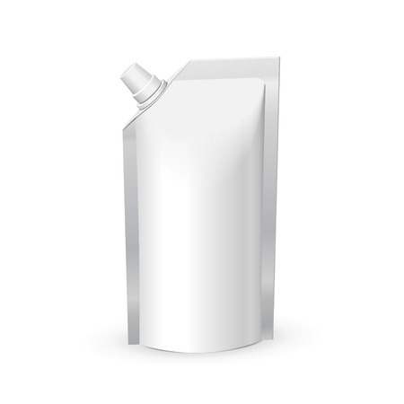 White Blank Foil Food Or Drink Bag Packaging With Lid.  일러스트