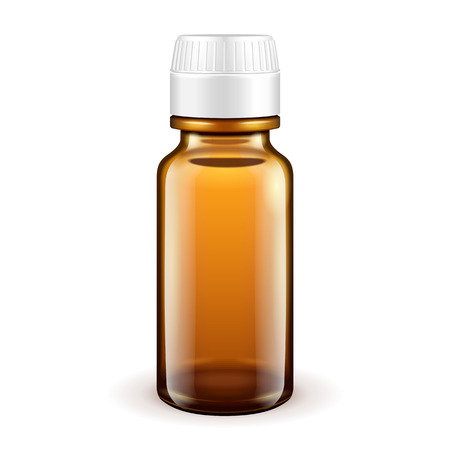 Medical Glass Brown Bottle On White Background Isolated. Ready For Your Design. Product Packing. Vector EPS10