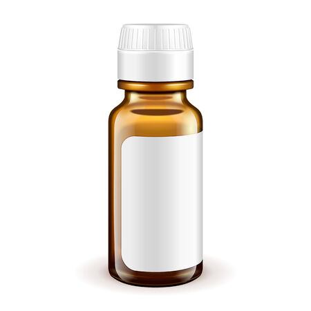 brown bottle: Medical Glass Brown Bottle With Label On White Background Isolated. Ready For Your Design. Product Packing. Vector EPS10