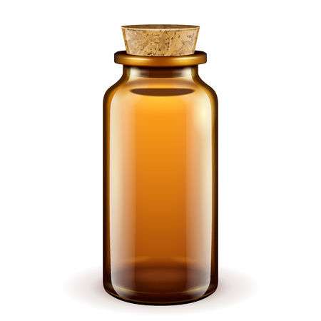 Medical Glass Brown Bottle With Cork Lid On White Background Isolated. Ready For Your Design. Product Packing. Vector EPS10