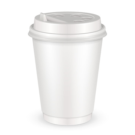White Disposable Paper Cup With Lid.