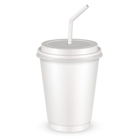 polystyrene: White Disposable Paper Cup With Lid And Straw.  Illustration