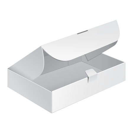 Opened White Product Cardboard, Carton Package Box On White Background Isolated. Ready For Your Design. Product Packing Vector.